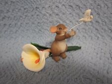 Charming Tails Fitz & Floyd saying goodbye is never easy Crying Mouse Calla Lily