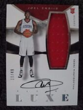 JOEL EMBIID #11/49 2014-15 LUXE ON CARD AUTO JERSEY PHILADELPHIA 76ERS RC