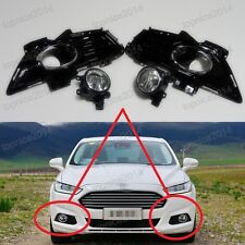 Clear Fog Light Lamps & Gloss Black Covers Kits For Ford Fusion/Mondeo 2013-2015