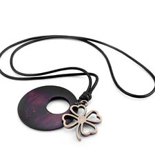 Women Bohemian Alloy Four Heart Leaves Round Wood Pendant Necklace Gift Jewelry