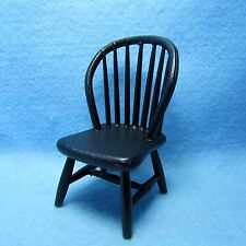 Dollhouse Miniature Kitchen / Dining Room Windsor Chair in Black ~ CLA07815