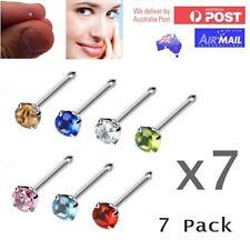 7 x Gem Crystal Nose Stud Pin Shaped 22g 9mm Bar 1.5mm Stone Silver Bulk Set L