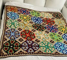 Vintage Colorful Hand Knitted Patchwork Afghan 58X58
