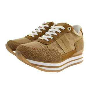 Shoes Sneaker Casual Apepazza Woman Leather Fabric Brown Leather Rubber Upturn