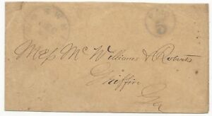 CSA Cover Roswell, GA CDS Handstamp Paid 5 Type I Violdet December 21 (1861)