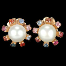 GENUINE AAA MULTI COLOR SAPPHIRE & WHITE PEARL STERLING 925 SILVER STUD EARRING