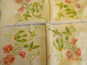 """Vintage~ Hand embroidered TABLECLOTH ~ White Linen 42/44"""" sq"""