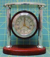 "Paul Sebastian Silver Brass Mahogany Round Desk/Mantel Clock 3"" Face"