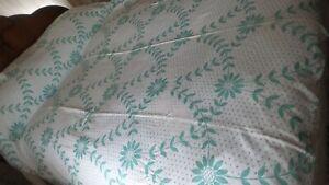 "Vintage Cotton SUMMER BEDSPREAD Green Floral,70""x78"",Cotton"