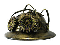 Steampunk Hat Miner Pith Explorer Costume Helmet with Fake Goggles Gears