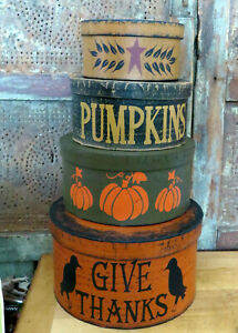 "Primitive Folk Art Halloween FALL PUMPKIN & CROW STACKING Nesting BOXES 16"""