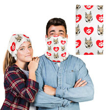 Polyester Neck Gaiter Face Mask Shikoku Dog Heart Paws Reusable Shield Covering