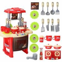 Kitchen Play Set Kids Children's Red Cooking Toddler Infant Baby Toy Gift Xmas