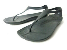 CROCS 11364 Sexi US Womens 9M Black Thong Sandals Shoe with Ankle Strap Slip On