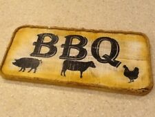 BBQ Hand Painted Wooden Sign - Pig Cow Chicken Barbecue