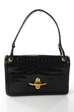 Hermes Black Turn Lock Closure 4 Pocket 1960s Vintage Crocodile Skin Handbag