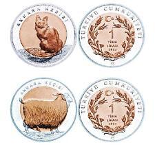 Turkey 2015 Set Ankara / Angora-Cat / Goat 1 Lira Commemorative Bimetal Unc