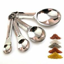 MEASURING SPOON SET OF FOUR STAINLESS STEEL COOKING BAKING TEASPOON TABLESPOON