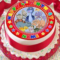 DINOSAUR RED PERSONALISED BIRTHDAY 7.5 INCH PRECUT EDIBLE CAKE TOPPER A365K