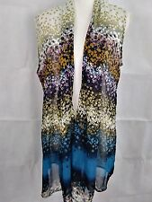 Coldwater Creek womens gold/blue/brown/purple sleeveless 100% polyester cover up