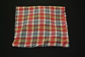 VTG Ralph Lauren Queen Fitted Bedsheet Plaid Check Pink Blue