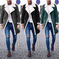 Men's Wool Jacket Warm Winter Trench Long Outwear Button Overcoat Fashion Coat