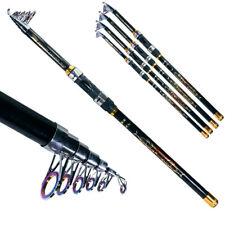 Telescopic Graphite Fishing Rod Travel Spinning Pole Professional Portable Black