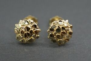 Real 10K Solid Yellow Gold 8.5MM Round Diamond Cut Nugget Stud Earrings.