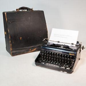 Beautiful 1937 Vintage Olympia Elite Typewriter Black W/ Case Made in Germany