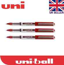 3 x UNIBALL EYE MICRO UB-150 Tip ROLLER BALL PEN 0.5MM RED