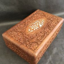 Vintage Indian Timber Wooden Box with Inlay Jewelry Box Ornate Carved Wooden
