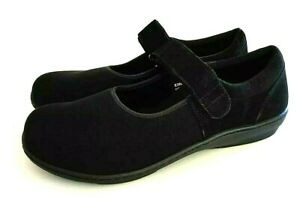 Berries by Aetrex Womens Orthotic Mary Jane Shoes Sz 9.5 W Black Vlcro Comfort