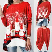 Women's Fashion Plus Size Long Sleeve Christmas Santa Claus Print Tops Blouse