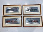 Vintage Robert Kern Historic Locomotive Train Silver Foil Color Etch Print Set 4