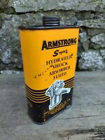 c1960's Vintage 1 Pint Armstrong Super Hydraulic Shock Absorber Fluid Empty Tin