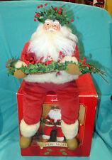 "Hallmark Sitting Santa, Pere Noel, Porcelain Face 14"" Figure Shelf Sitter NIB"