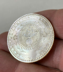 Early Antique Chinese Carved Engraved Mother Of Pearl Gambling Poker Chip
