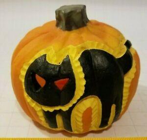 "Halloween Clearance 8"" Light Up Resin Black cat jack-o-lantern 2 faced Decor"