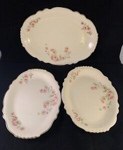 Vintage Homer Laughlin VIRGINIA ROSE Platter Silver Trim Set Of 3