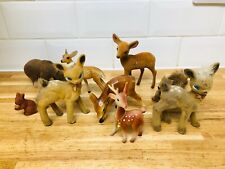 Vintage 1960s Geo Deer Flocked Deer Bambi & Other ANimals Kitsch Retro