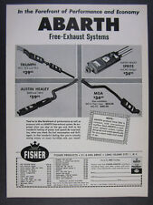 1962 Triumph Austin-Healey MG MGA Abarth Exhaust Systems vintage print Ad