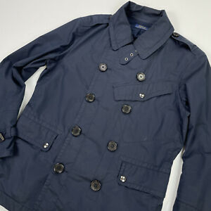 Polo Ralph Lauren (M) Navy Blue Cotton/Nylon Double Breasted Lightweight Coat
