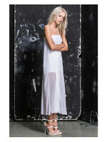 BNWT Religion Stern Maxi Dress rrp £125 Optic White Festival Summer