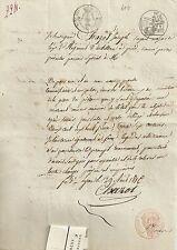PAPIER ANCIEN PARCHEMIN CESSION DE CREANCES LYON AOUT 1816