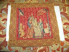 "J.Pansu Tapestry Pillow Case, France, Medieval Scene, Women Lion Unicorn, 14""sq"