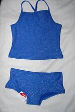 M&S  2 Piece Sparkly Tankini Set Blue Mix UPF 50+ Age 3-4 Years BNWT