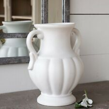 Vintage Style Flower Vase White Ceramic 11.5 in