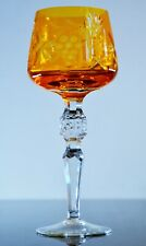 Antique 1 Glass Roemer Wine Crystal Double Colour Yellow Traube Bohemian