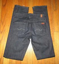 "7 FOR ALL MANKIND ""Kimmie Straight Leg"" Dark Jeans Sz 25 x 32-1/2 USA"