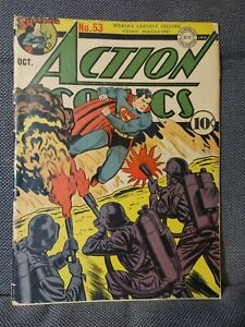 Action Comics 53 (10/42) Nazi flamethrowers cover by Jack Burnley   G+